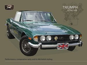 Triumph Stag V8 small steel sign 200mm x 150mm (og)